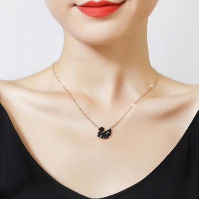 黑天鹅项链女日韩版简约镀18K玫瑰金锁骨链 时尚网红森系饰品礼物