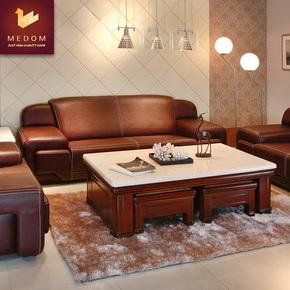现代新中式酒红色真皮沙发 头层牛皮青皮厚皮沙发客厅组合整装123