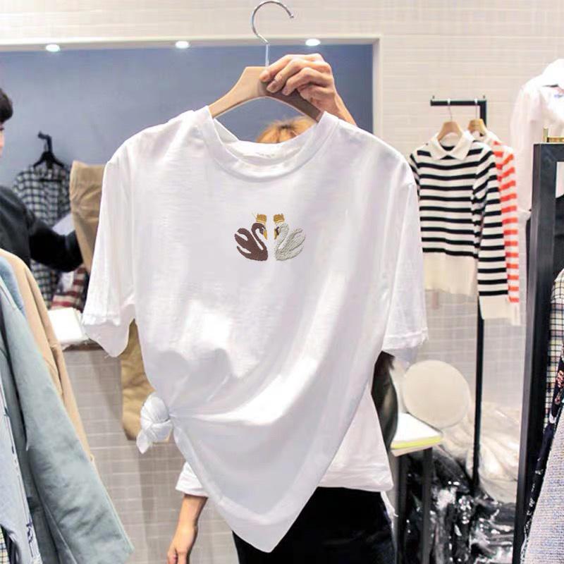 白色短袖t恤女2019夏季新款纯棉韩版大码宽松半袖体恤字母刺绣