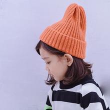 宝宝帽女韩版男宝宝女宝宝毛线帽子纯色休闲保暖针织套头帽冬季女