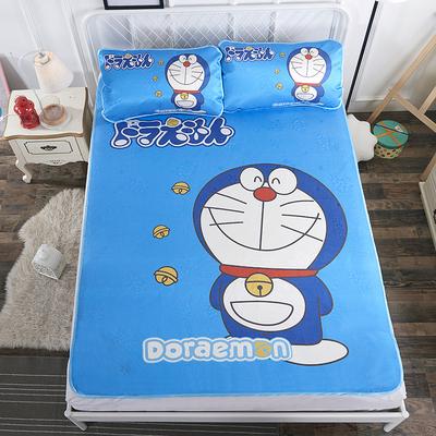 卡通哆啦a梦冰丝席三件套夏季凉席1.5米单人学生宿舍1.8m床可折叠有实体店吗