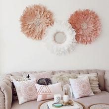 羽灵手工编织羽毛壁挂 ins风卧室客厅玄关羽毛贝壳镜装饰画