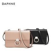 Daphne/达芙妮2018春季新款复古小方包斜挎包圆环搭扣细带包