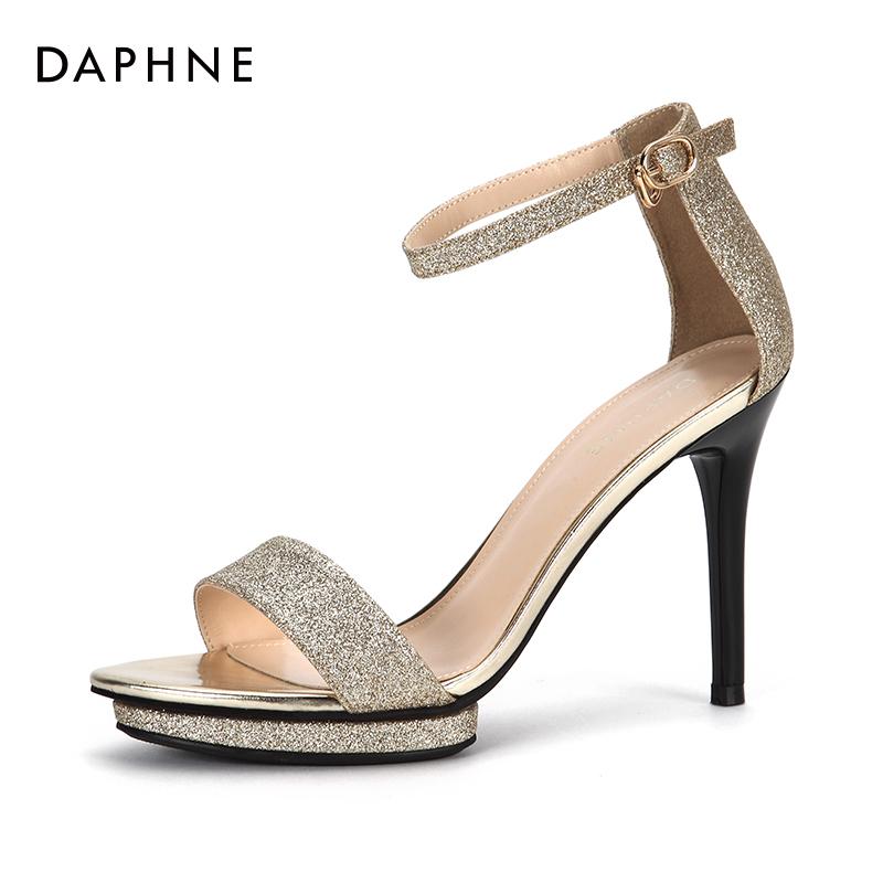 夏季新款高跟鞋亮片一字扣纯色时尚细跟凉鞋女 2018 达芙妮 Daphne