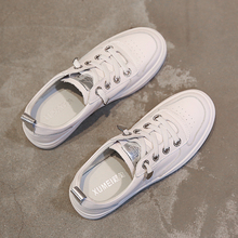 Small White Shoes, Thick Bottom, Spring New Korean Version Leather Tight Set Foot, Red Plate Shoes, Leisure White Shoes