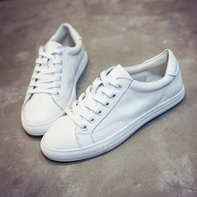 Little White Shoes Female Student White Shoes Recreational Trend of Baitao Basic Leather Tie Flat-soled Chic Board Shoes in Spring and Autumn Period and Korean Edition