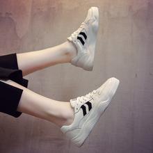 2019韩版春小白鞋女系带百搭街拍运动板鞋女厚底真皮网红鞋休闲鞋