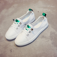 Small white shoes, shallow Leather Flat sole, easy to set up in summer, tighten one foot and pedal on INS women's shoes, Hong Kong Wind Super Fire Leisure Shoes