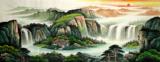 国画手绘山水画小六尺客厅办公室风水靠山水墨画聚宝盆无落款44
