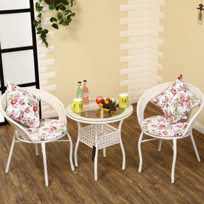 藤椅三件套阳台客厅卧室办公玻璃小圆桌子编织休闲桌椅五件套铁艺打折促销