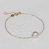 Natural road road through pearl bracelet 18k gold female net red single fresh rose gold temperament round adjustable