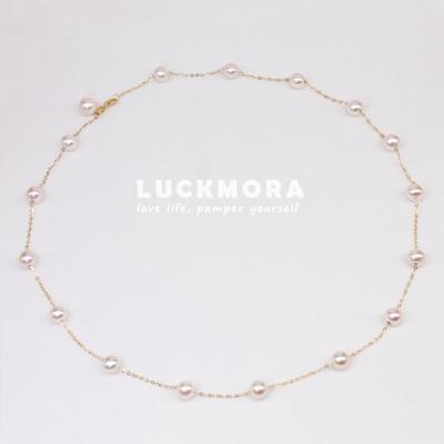 满天星珍珠项链极强光珍珠颈链18K黄金 迷你天然珍珠锁骨链
