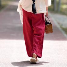休闲长裤 春夏复古文艺水洗直筒裤 热卖 女装 蝉昭18新款 100%亚麻下装图片