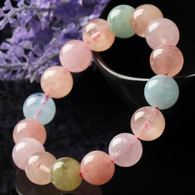 亲宝水晶天然大规格摩根石手链 女款 彩色圆珠手串 简约时尚饰品