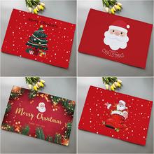 圣诞节日装饰红色小地毯新年门口小地垫圣诞树老人进门垫脚垫礼物