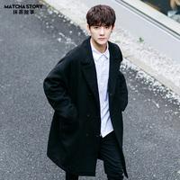 呢子羊毛大衣男中长款冬季黑色外套韩版潮流情侣毛呢风衣【打折】