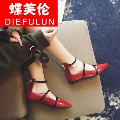 蝶芙伦02性感踝带尖头平跟学生女鞋夏季新款浅口袢带后拉链潮单鞋
