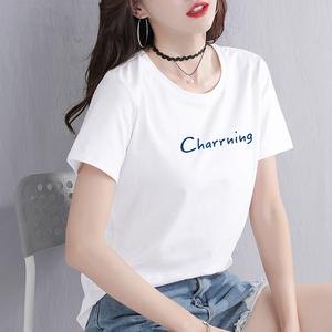 短袖t恤女2019新款宽松女士白色纯棉体恤短款半袖夏装超火cec上衣