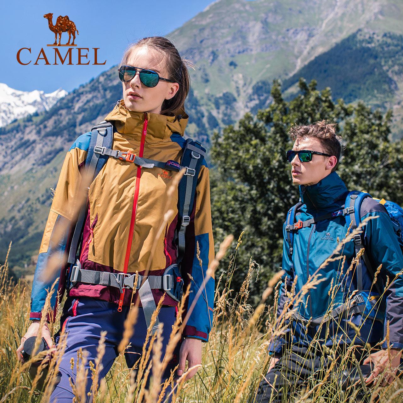 骆驼户外冲锋衣时尚潮牌时尚拼色男情侣款三合一两件套雪山冲锋衣