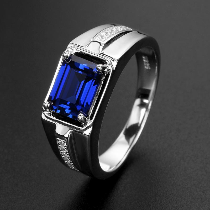 彩宝 坦桑色蓝宝石男士戒指 925纯银镀白金时尚指环男免费刻字图片