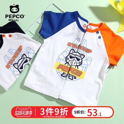 小猪班纳男宝宝圆领体恤2019夏装新款儿童短袖t恤男小童上衣