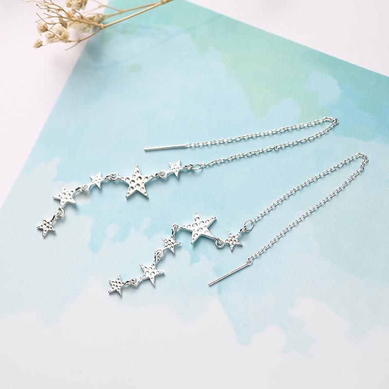 星星耳线 小清新气质韩国个性925纯银五角星耳环超仙显脸瘦的耳环