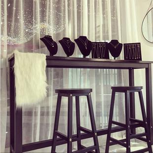 简约现代靠墙吧台桌家用客厅小吧台桌长条桌窄桌铁艺高脚桌咖啡桌