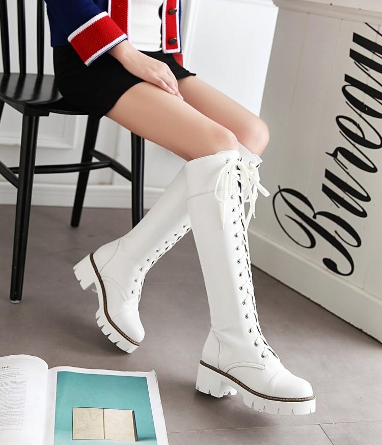 Cos白色黑色低跟绑带高筒靴到膝盖马丁靴欧美骑士靴机车风军靴女