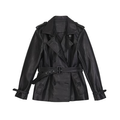 VEGA CHANG黑色皮风衣女中长款2019春装新款双排扣绑带帅气pu皮衣