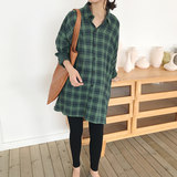 Pregnant dress spring 2019 new Korean version of the lapel plaid shirt age-reducing shirt fashion loose pregnant women shirt tide