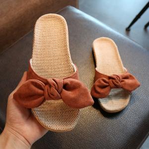 拖鞋女夏室内居家亚麻拖鞋家居家用办公室可爱软底地板防滑凉拖鞋