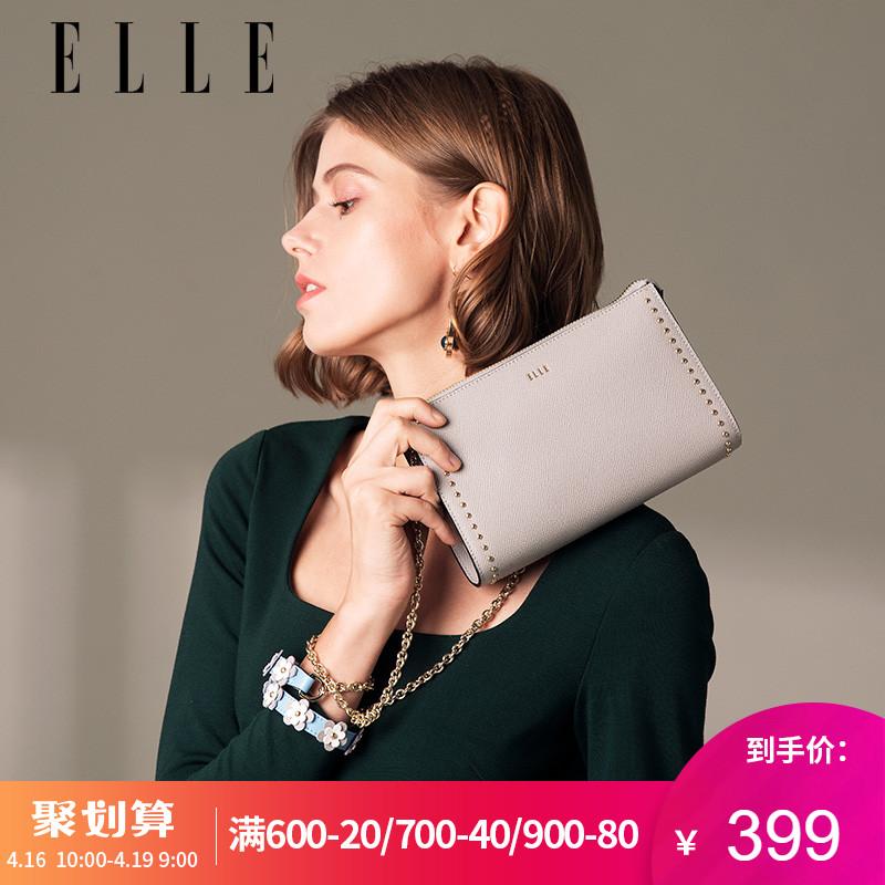ELLE女包新款時尚牛皮單肩包80276潮流花朵鏈條斜挎包女圖片