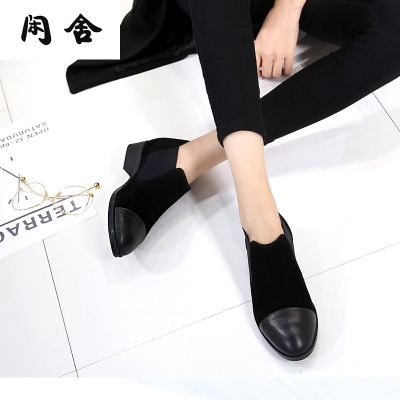 闲舍深口单鞋低跟平底圆头粗跟春秋季新款拼接真皮瓢鞋33小码女式