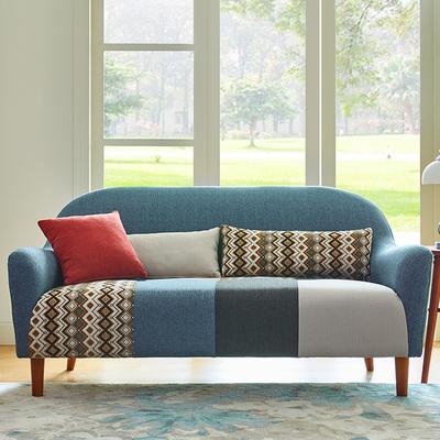 新款拼色小户型日式田园创意单人双人三人座北欧客厅书房布艺沙发
