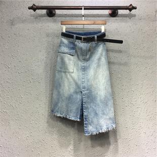 开叉不规则新款欧19夏季牛仔裙字半身裙女