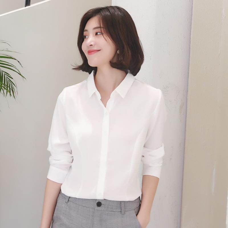 韩范 bottom chiffon shirt female autumn long sleeve casual wild shirt 2018 new