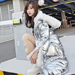 2019新款韩版宽松银色亮面羽绒棉服中长款加厚漆皮羊羔毛外套女冬