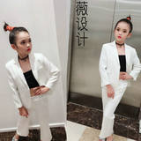Wei Design High-end Private Customized Walking Show Model Dresses White Suit T-stage Walking Show Suit Individual Fashion Clothes