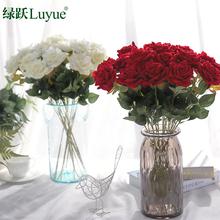 仿真玫瑰花束室内绢花假花塑料花客厅装饰花单支摆件插花花艺摆设