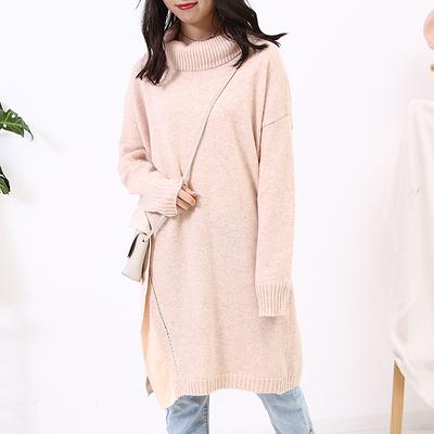 【包邮】1.34斤J@26新款韩版中长款高领宽松套头针织毛衣连衣裙c1
