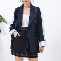 J@25冬季韩版百搭长袖纯色宽松不规则破洞时尚潮流女装牛仔外套