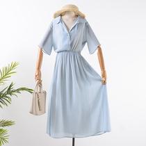 小谷女装H@17  秋季V领短袖小圆点长裙收腰显瘦A字连衣裙