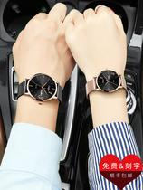 圆形精钢表盘520情侣手表一对价双日历石英表皮带超薄1314奥利妮