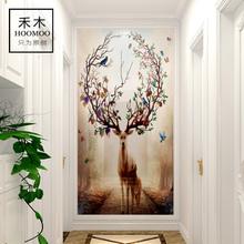 玄关瓷砖背景墙现代简约装饰壁画电视背景墙瓷砖过道走廊3d梦幻鹿