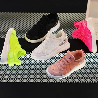 女童运动鞋糖果色学生跑步鞋2018新款女童旅游鞋韩版男童透气网鞋