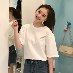 白色t恤女短袖2019新款夏季韩版宽松百搭超火cec半袖体恤衫ins潮