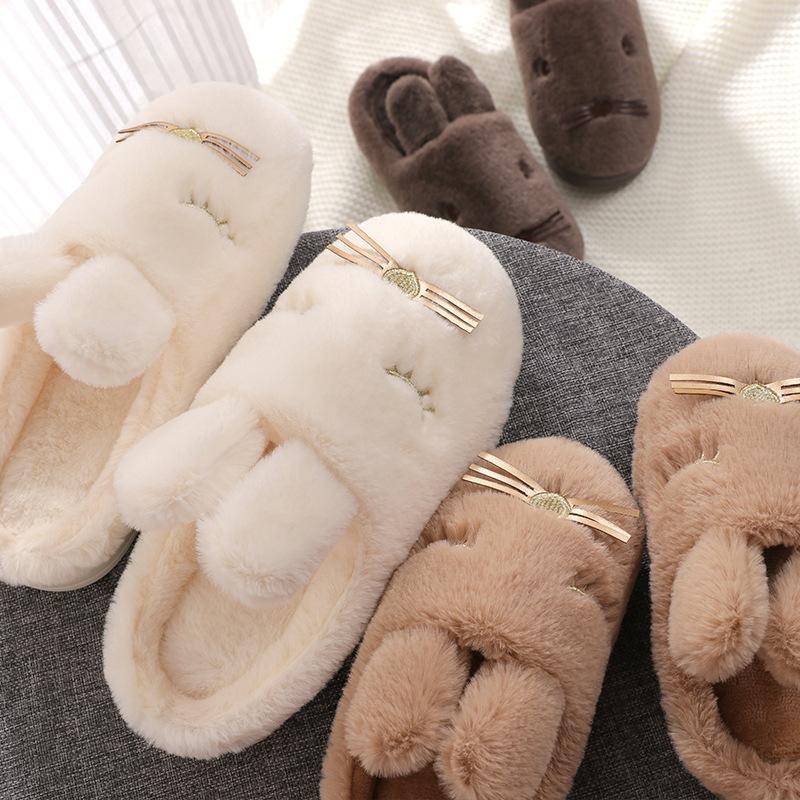 薄棉拖鞋女少女冬季棉拖鞋女一家3口厚底半包跟黑色粉嫩女宝厚底