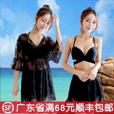 奢永分体裙式温泉泳衣女三件套小胸聚拢性感遮肚显瘦韩国小香风