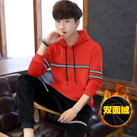 Set men's new autumn and winter thick double-sided gold velvet set of hooded handsome casual sweater sports two-piece