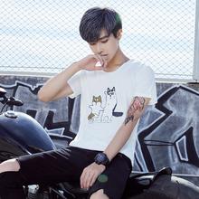 衣服白色情侣体恤 潮流修身 t恤夏季圆领韩版 半袖 男士 2018新款 短袖图片